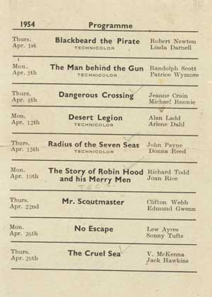Albert cinema programmes form the 1950's