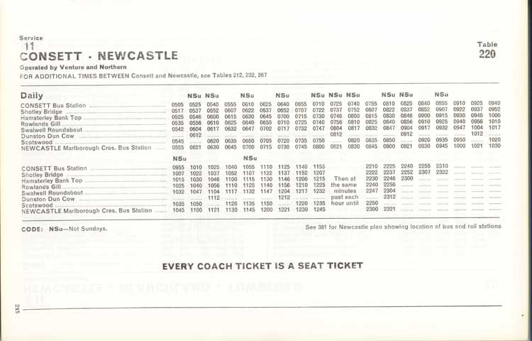 Northern timetable No. 11