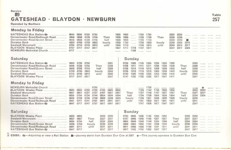 Northern timetable No. 89