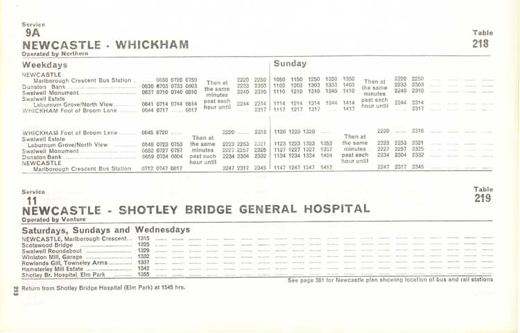 Northern timetable No. 9A