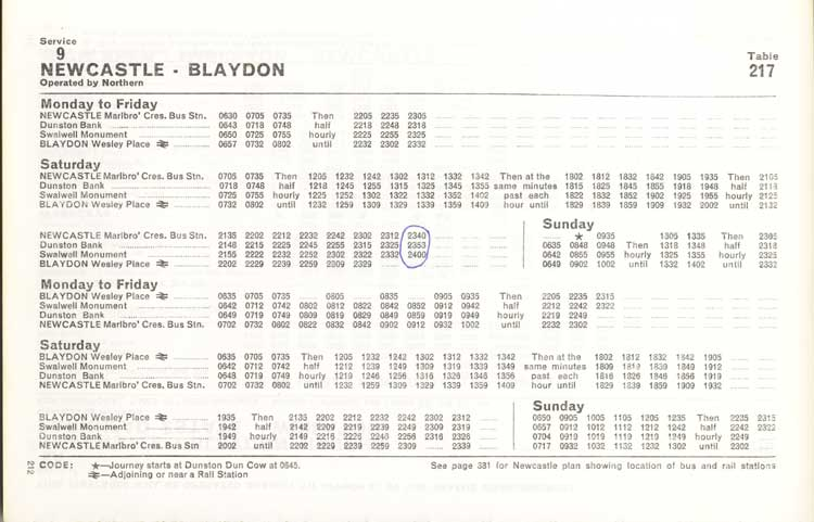 Northern timetable No. 9