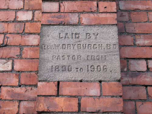 Foundation stone laid by Reverend William Dryburgh