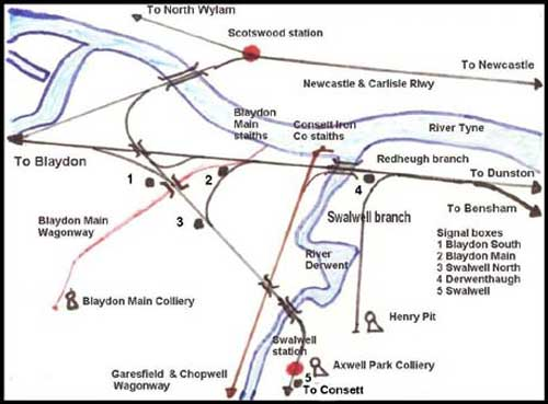 Map showing railways of Swalwell and Derwenthaugh